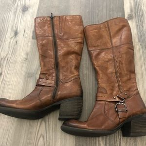 Clarks Brown Knee High Heeled Boots 9